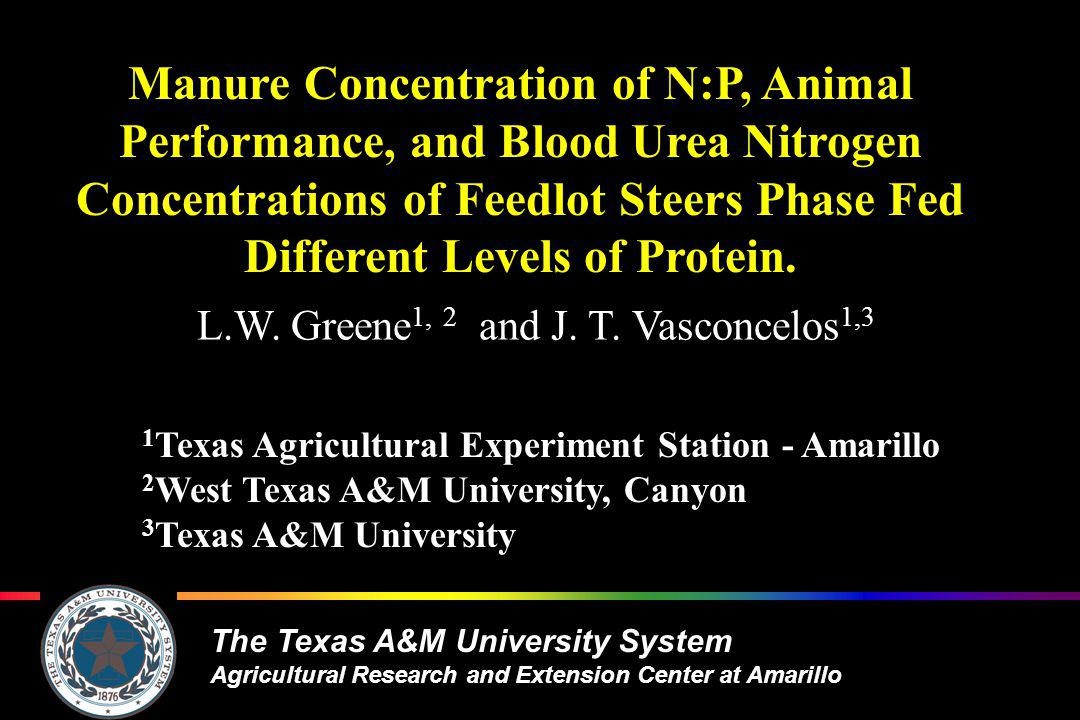 The Texas A&M University System Agricultural Research and Extension Center at Amarillo Carcass Characteristics Longissimus area, cm 2 P-value =0.192