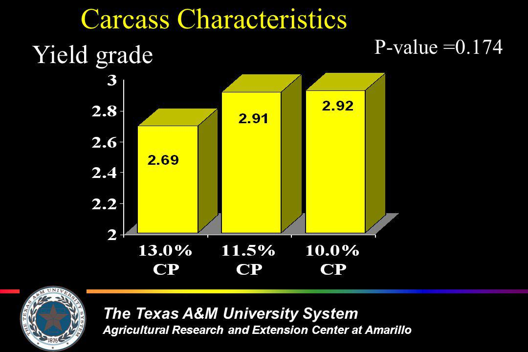 The Texas A&M University System Agricultural Research and Extension Center at Amarillo Carcass Characteristics Yield grade P-value =0.174