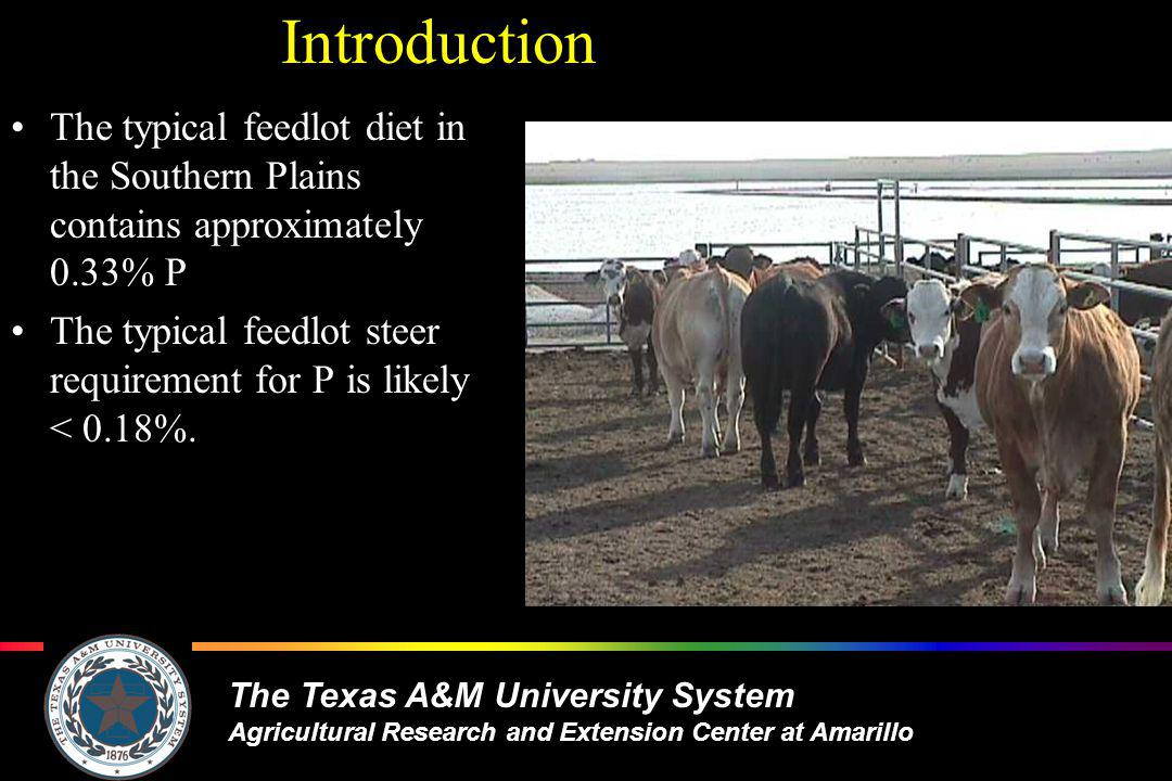 The Texas A&M University System Agricultural Research and Extension Center at Amarillo Phosphorus excess or deficiency (g/d) during feeding period given a typical diet (adapted from Galyean) Days on Feed Average excess 6.7 g/d