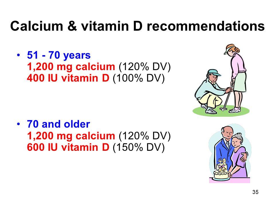 35 Calcium & vitamin D recommendations 51 - 70 years 1,200 mg calcium (120% DV) 400 IU vitamin D (100% DV) 70 and older 1,200 mg calcium (120% DV) 600 IU vitamin D (150% DV)