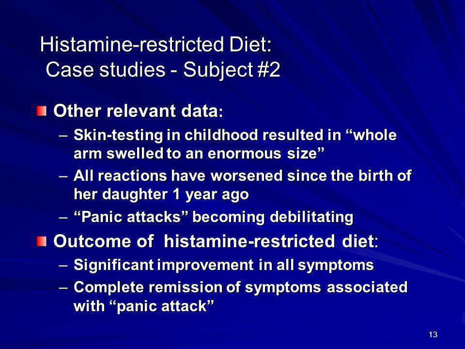 13 Histamine-restricted Diet: Case studies - Subject #2 Other relevant data : –Skin-testing in childhood resulted in whole arm swelled to an enormous size –All reactions have worsened since the birth of her daughter 1 year ago –Panic attacks becoming debilitating Outcome of histamine-restricted diet: –Significant improvement in all symptoms –Complete remission of symptoms associated with panic attack