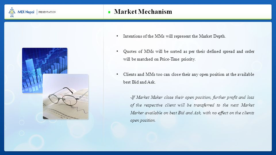 Intentions of the MMs will represent the Market Depth.