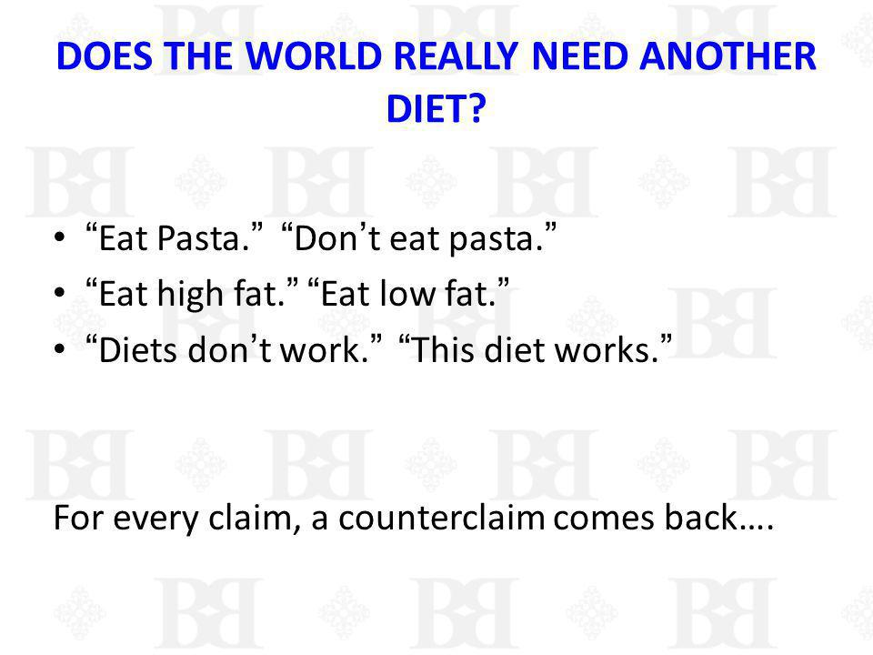 WHAT DO ALL THE DIET PLANS HAVE IN COMMON????.