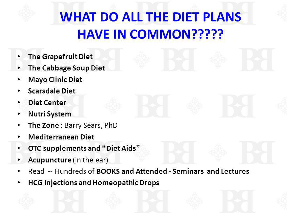 WHAT DO ALL THE DIET PLANS HAVE IN COMMON?