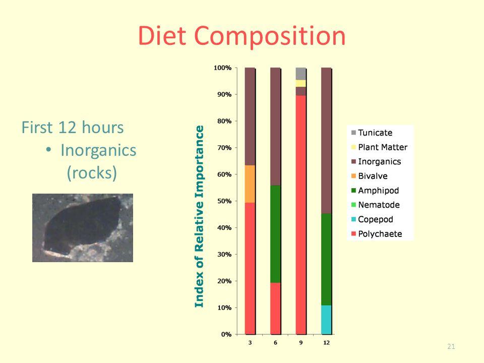 21 Diet Composition First 12 hours Inorganics (rocks)