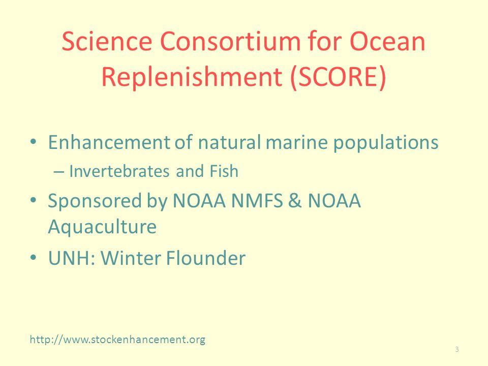 Science Consortium for Ocean Replenishment (SCORE) Enhancement of natural marine populations – Invertebrates and Fish Sponsored by NOAA NMFS & NOAA Aq