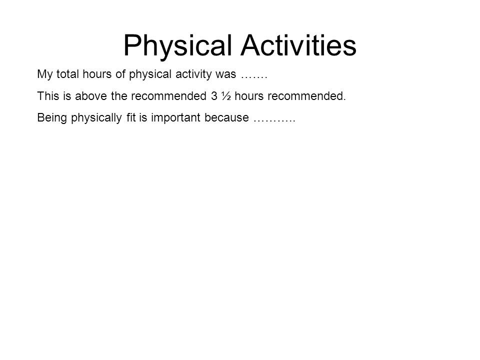 Physical Activities My total hours of physical activity was …….
