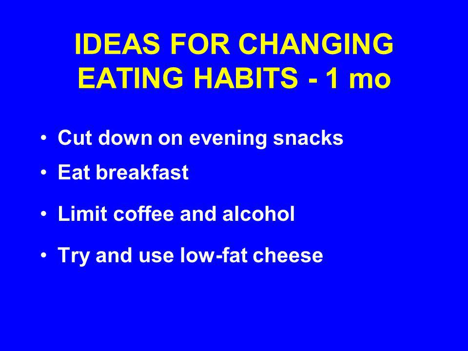 IDEAS FOR CHANGING EATING HABITS - 1 mo Cut down on evening snacks Eat breakfast Limit coffee and alcohol Try and use low-fat cheese