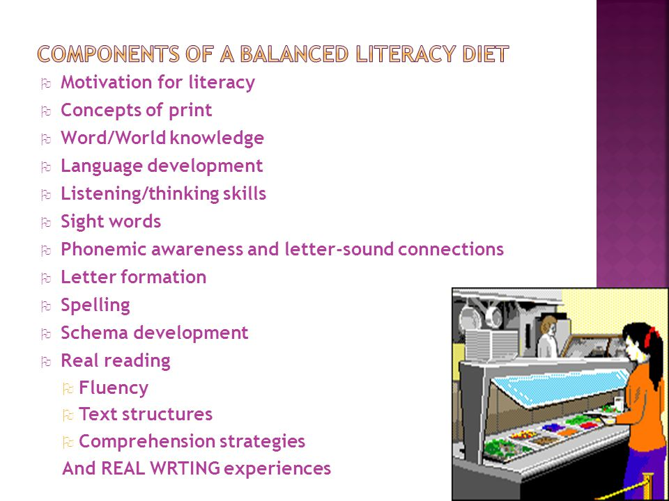 O Motivation for literacy O Concepts of print O Word/World knowledge O Language development O Listening/thinking skills O Sight words O Phonemic awareness and letter-sound connections O Letter formation O Spelling O Schema development O Real reading O Fluency O Text structures O Comprehension strategies And REAL WRTING experiences