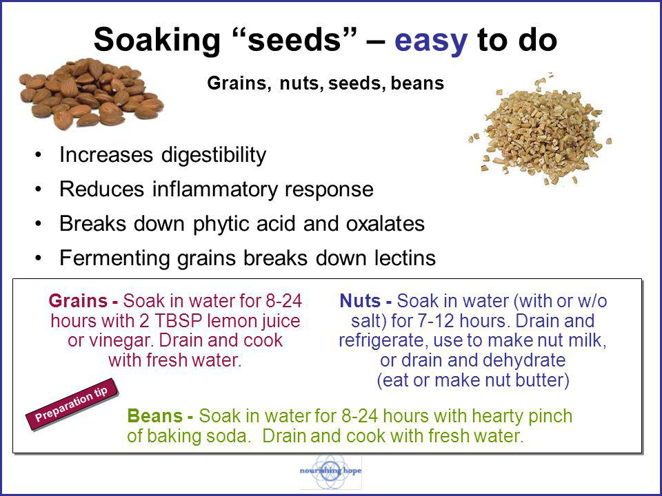 Soaking seeds – easy to do Grains, nuts, seeds, beans Increases digestibility Reduces inflammatory response Breaks down phytic acid and oxalates Fermenting grains breaks down lectins Nuts - Soak in water (with or w/o salt) for 7-12 hours.