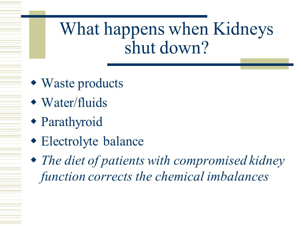 What happens when Kidneys shut down? Waste products Water/fluids Parathyroid Electrolyte balance The diet of patients with compromised kidney function