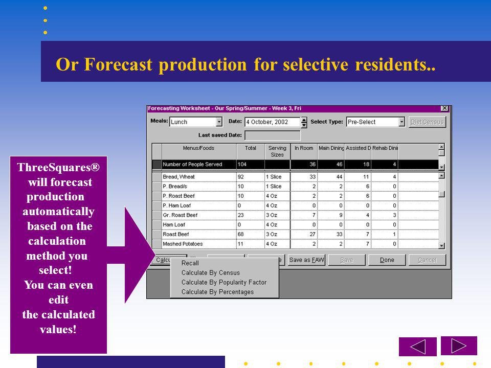Or Forecast production for selective residents..
