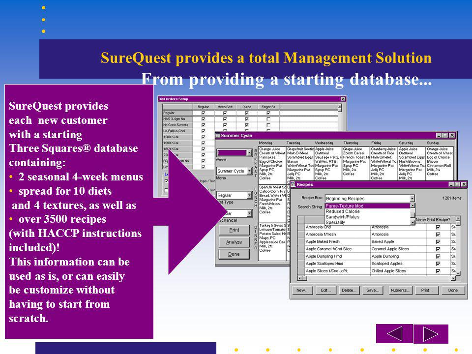 SureQuest provides a total Management Solution From providing a starting database... SureQuest provides each new customer with a starting Three Square