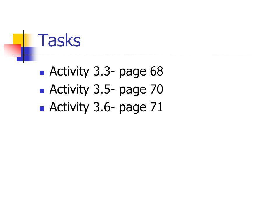 Tasks Activity 3.3- page 68 Activity 3.5- page 70 Activity 3.6- page 71
