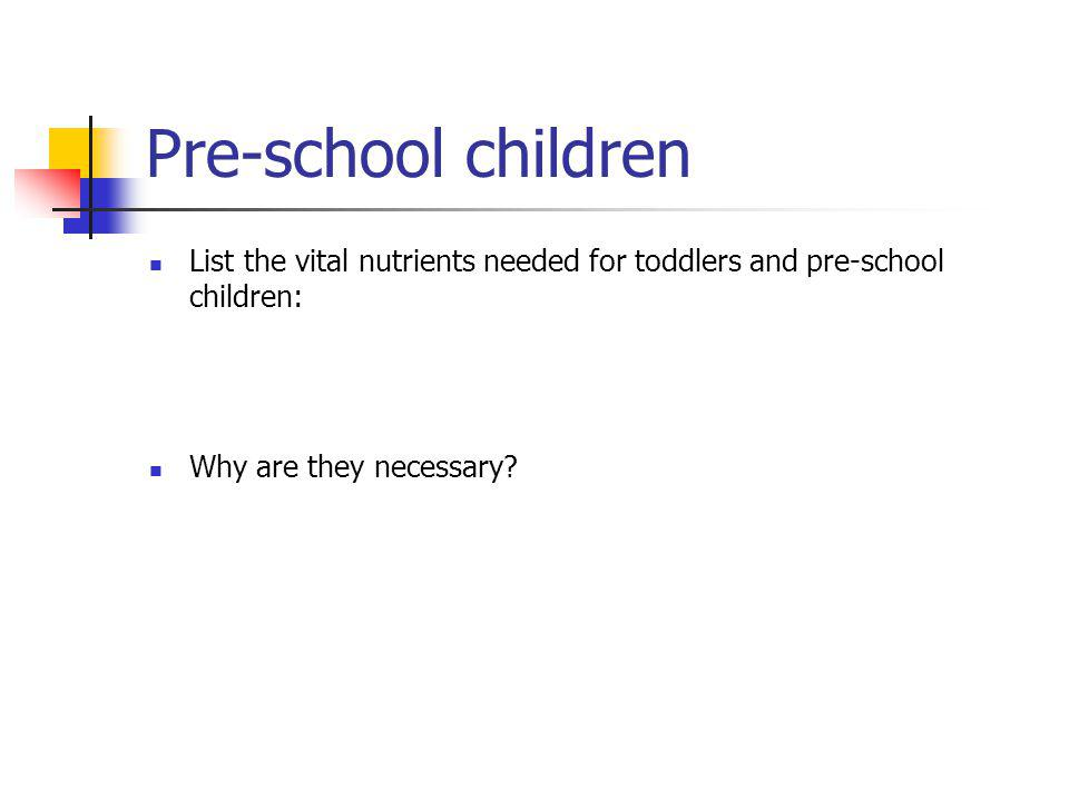 Pre-school children List the vital nutrients needed for toddlers and pre-school children: Why are they necessary?