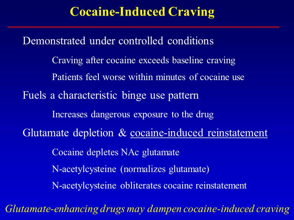 Cocaine-Induced Craving Demonstrated under controlled conditions Craving after cocaine exceeds baseline craving Patients feel worse within minutes of