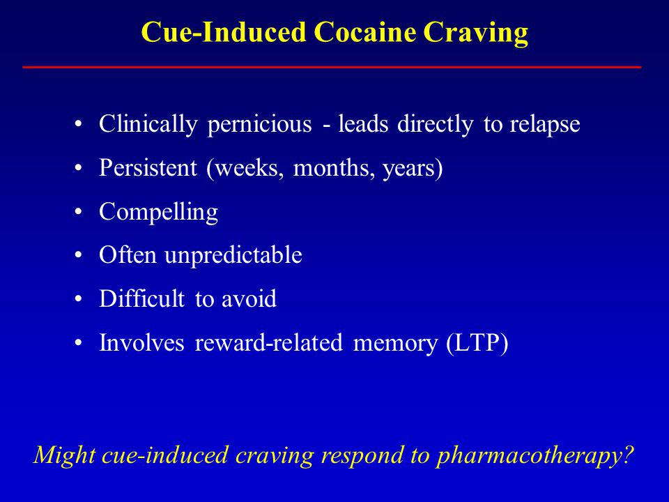 Cue-Induced Cocaine Craving Clinically pernicious - leads directly to relapse Persistent (weeks, months, years) Compelling Often unpredictable Difficult to avoid Involves reward-related memory (LTP) Might cue-induced craving respond to pharmacotherapy
