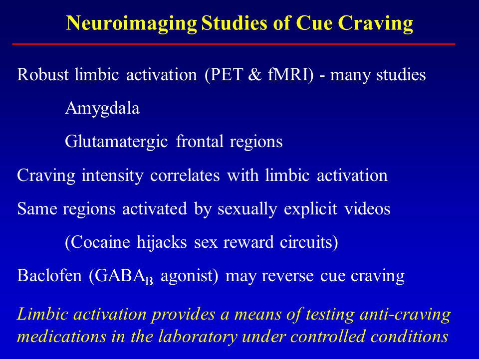 Neuroimaging Studies of Cue Craving Robust limbic activation (PET & fMRI) - many studies Amygdala Glutamatergic frontal regions Craving intensity correlates with limbic activation Same regions activated by sexually explicit videos (Cocaine hijacks sex reward circuits) Baclofen (GABA B agonist) may reverse cue craving Limbic activation provides a means of testing anti-craving medications in the laboratory under controlled conditions