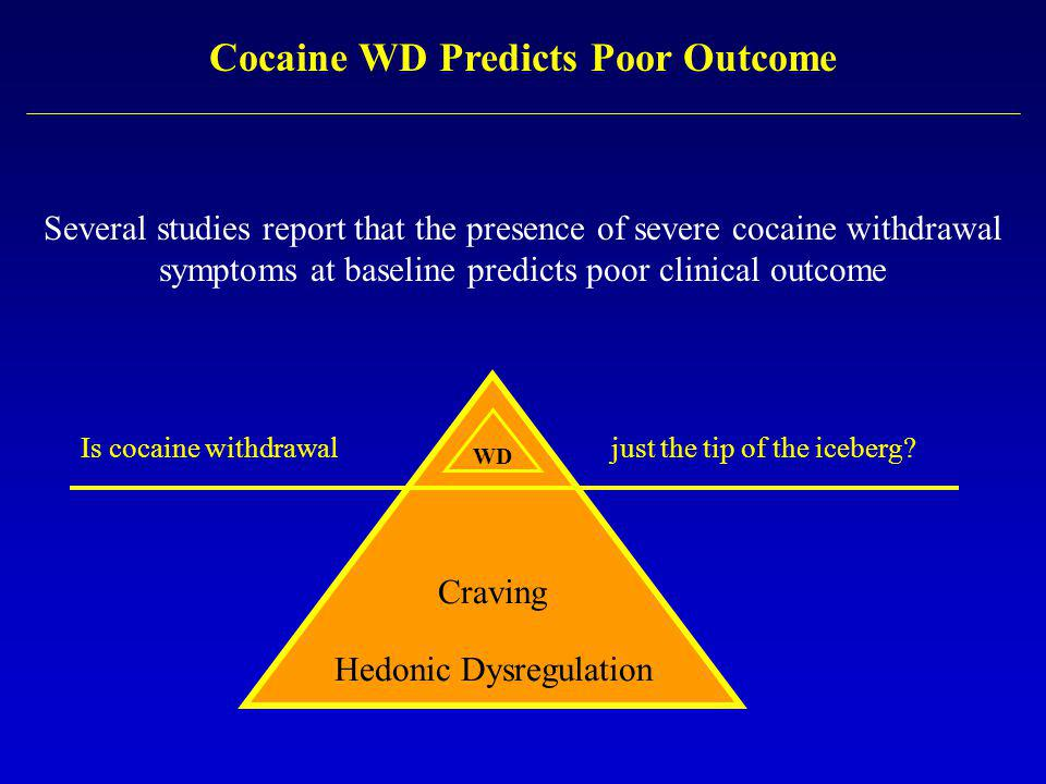 Cocaine WD Predicts Poor Outcome Several studies report that the presence of severe cocaine withdrawal symptoms at baseline predicts poor clinical outcome Craving Hedonic Dysregulation Is cocaine withdrawal just the tip of the iceberg.