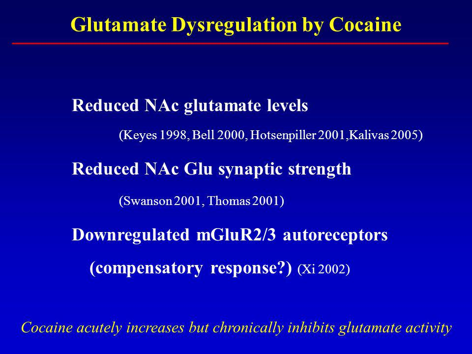 Glutamate Dysregulation by Cocaine Reduced NAc glutamate levels (Keyes 1998, Bell 2000, Hotsenpiller 2001,Kalivas 2005) Reduced NAc Glu synaptic strength (Swanson 2001, Thomas 2001) Downregulated mGluR2/3 autoreceptors (compensatory response ) (Xi 2002) Cocaine acutely increases but chronically inhibits glutamate activity