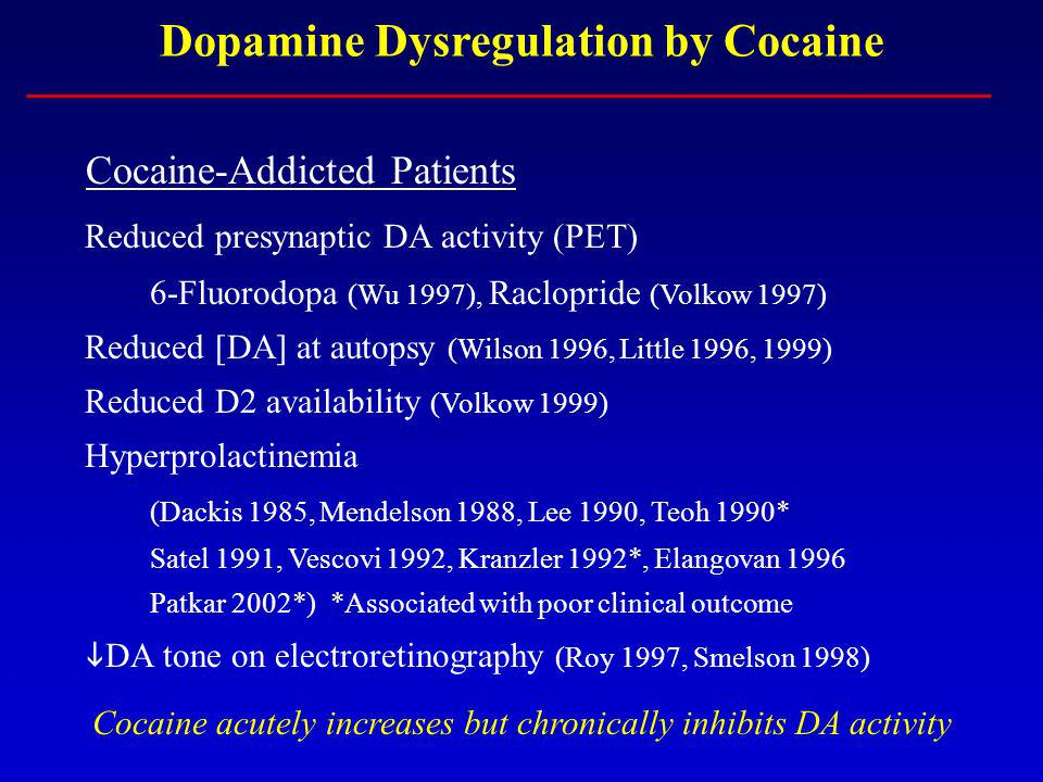 Dopamine Dysregulation by Cocaine Cocaine-Addicted Patients Reduced presynaptic DA activity (PET) 6-Fluorodopa (Wu 1997), Raclopride (Volkow 1997) Red