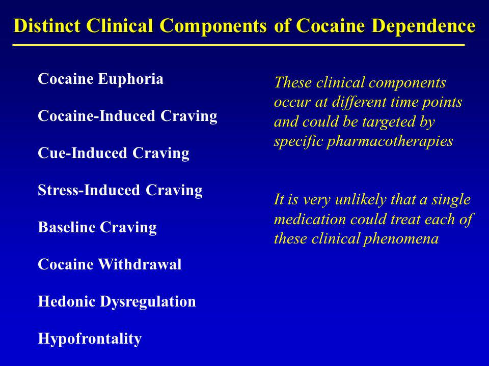Distinct Clinical Components of Cocaine Dependence Cocaine Euphoria Cocaine-Induced Craving Cue-Induced Craving Stress-Induced Craving Baseline Craving Cocaine Withdrawal Hedonic Dysregulation Hypofrontality These clinical components occur at different time points and could be targeted by specific pharmacotherapies It is very unlikely that a single medication could treat each of these clinical phenomena