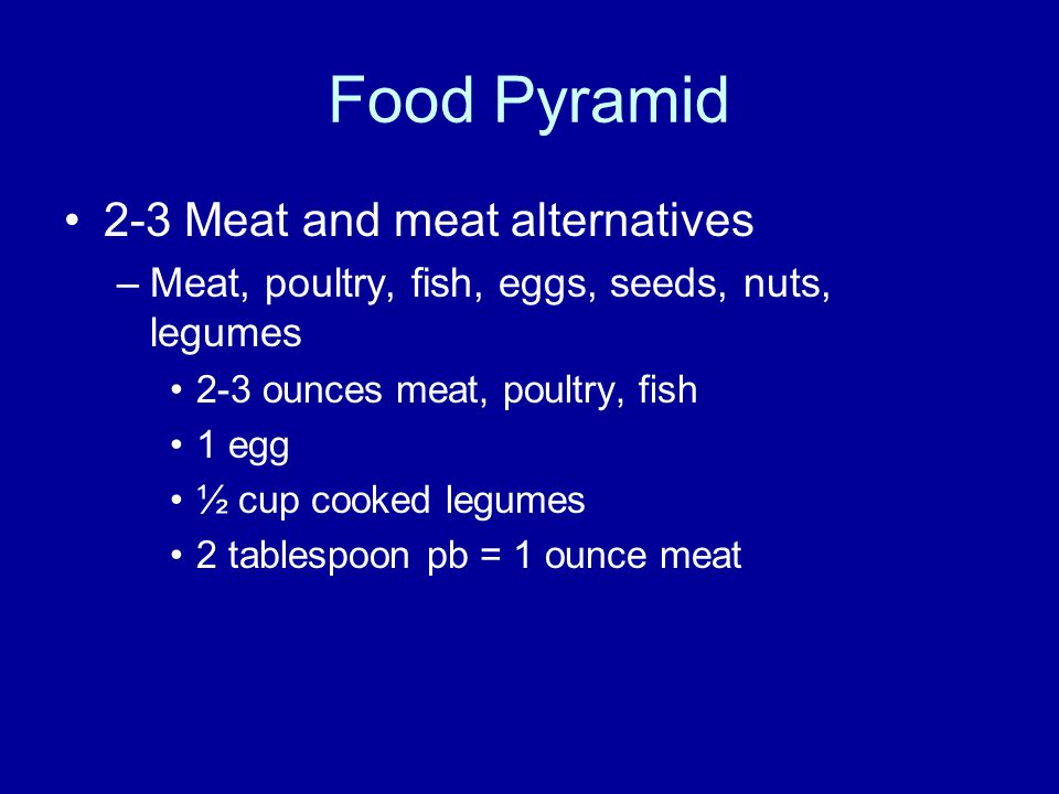 Food Pyramid 2-3 Meat and meat alternatives –Meat, poultry, fish, eggs, seeds, nuts, legumes 2-3 ounces meat, poultry, fish 1 egg ½ cup cooked legumes 2 tablespoon pb = 1 ounce meat