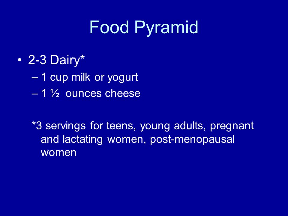 Food Pyramid 2-3 Dairy* –1 cup milk or yogurt –1 ½ ounces cheese *3 servings for teens, young adults, pregnant and lactating women, post-menopausal women