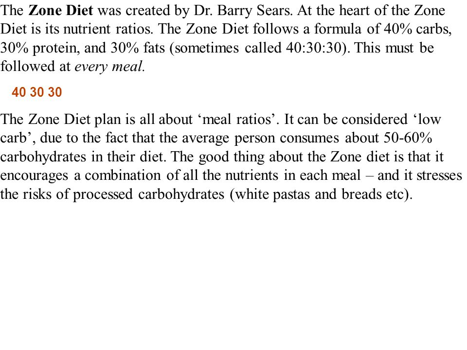 The Zone Diet was created by Dr. Barry Sears.