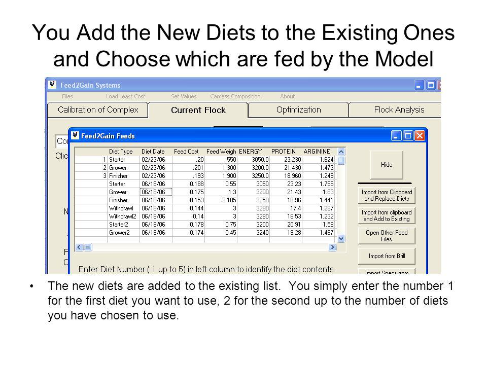 You Add the New Diets to the Existing Ones and Choose which are fed by the Model The new diets are added to the existing list.