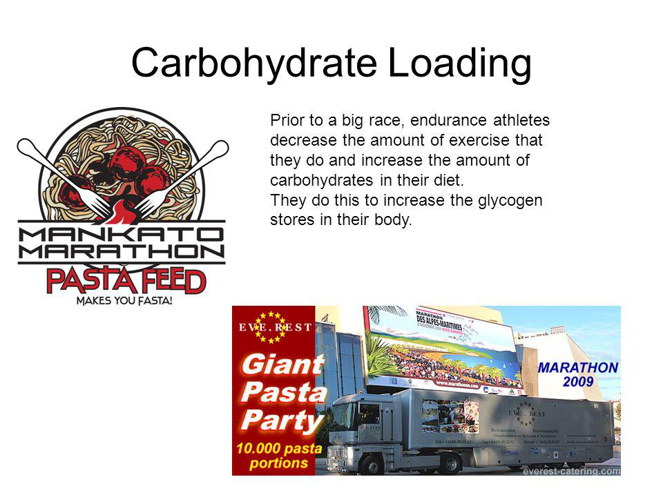 Carbohydrate Loading Prior to a big race, endurance athletes decrease the amount of exercise that they do and increase the amount of carbohydrates in their diet.