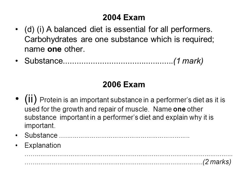 2004 Exam (d) (i) A balanced diet is essential for all performers.