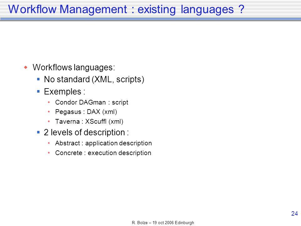 R. Bolze – 19 oct 2006 Edinburgh 24 Workflow Management : existing languages .
