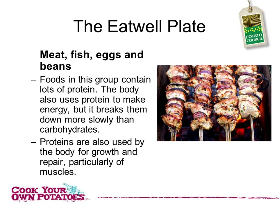 The Eatwell Plate Meat, fish, eggs and beans –Foods in this group contain lots of protein.