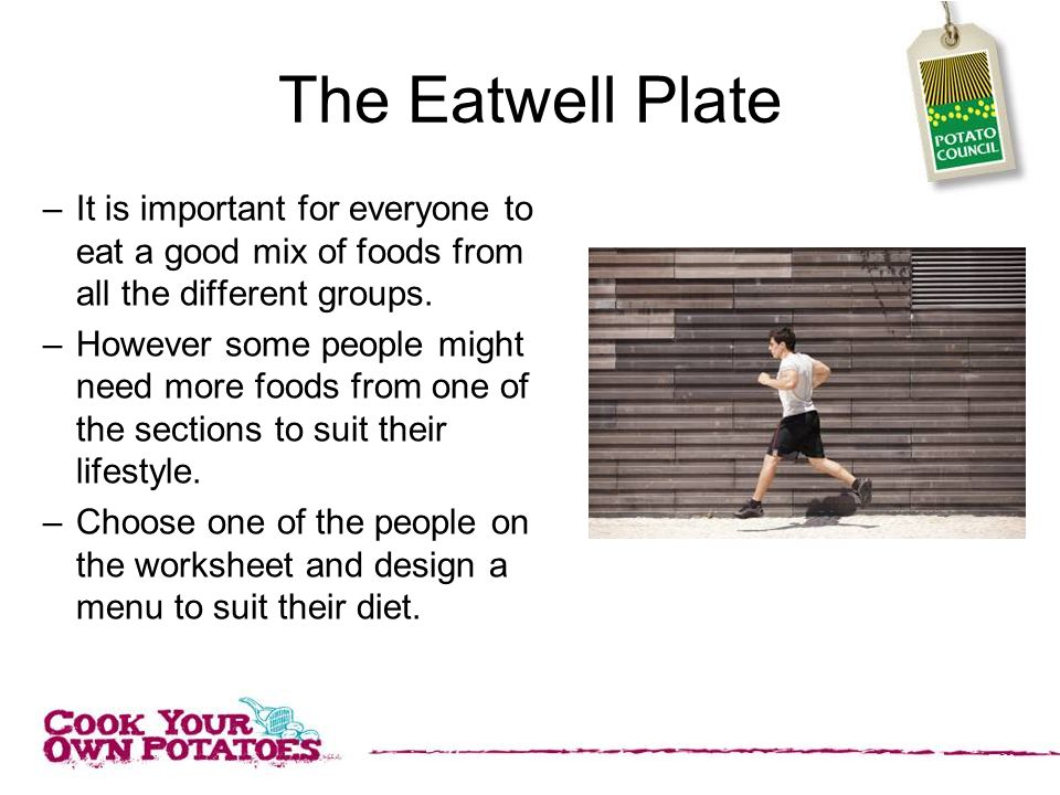 The Eatwell Plate –It is important for everyone to eat a good mix of foods from all the different groups.