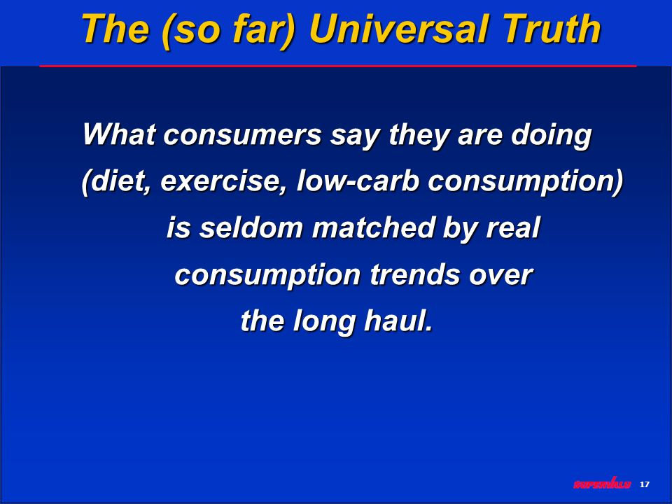 17 The (so far) Universal Truth What consumers say they are doing (diet, exercise, low-carb consumption) is seldom matched by real consumption trends over the long haul.