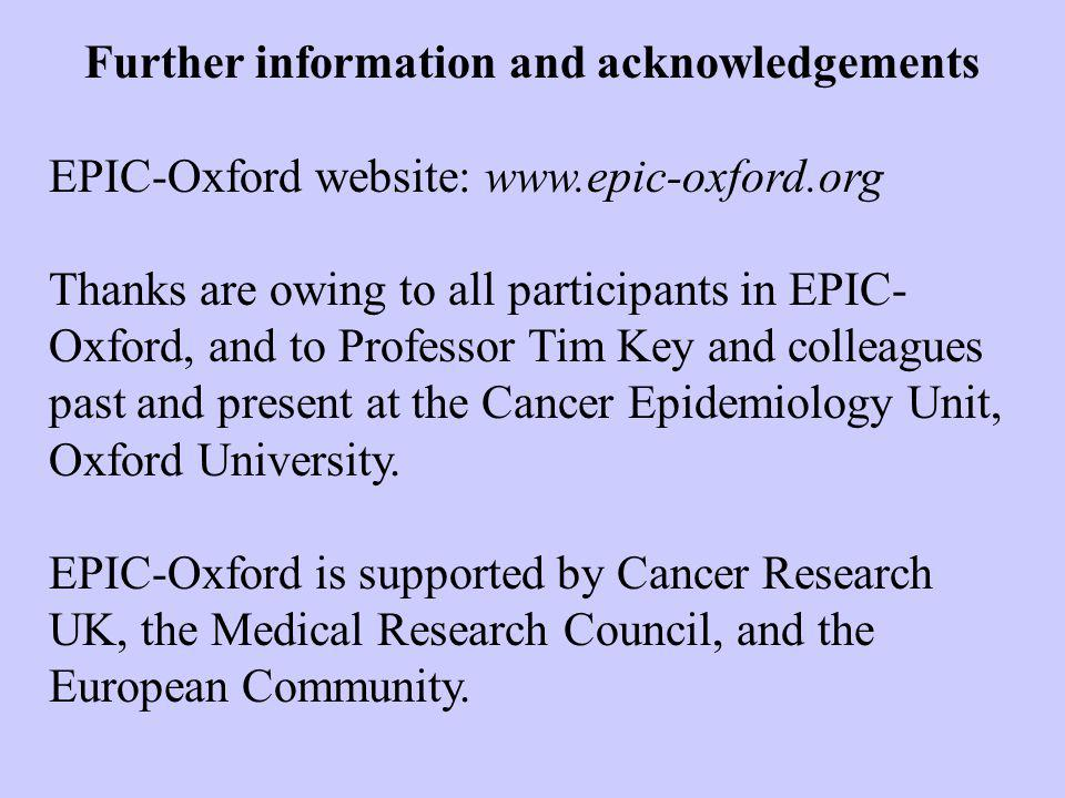 Further information and acknowledgements EPIC-Oxford website: www.epic-oxford.org Thanks are owing to all participants in EPIC- Oxford, and to Professor Tim Key and colleagues past and present at the Cancer Epidemiology Unit, Oxford University.