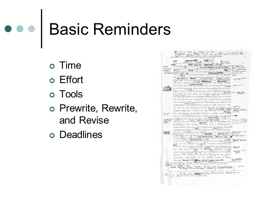 Basic Reminders Time Effort Tools Prewrite, Rewrite, and Revise Deadlines