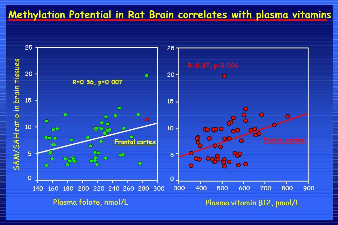 Plasma folate, nmol/L SAM/SAH ratio in brain tissues 300280260240220200180160140 25 20 15 10 5 0 Frontal cortex R=0.36, p=0.007 Methylation Potential in Rat Brain correlates with plasma vitamins 900800700600500400300 25 20 15 10 5 0 Plasma vitamin B12, pmol/L Frontal cortex R=0.37, p=0.006