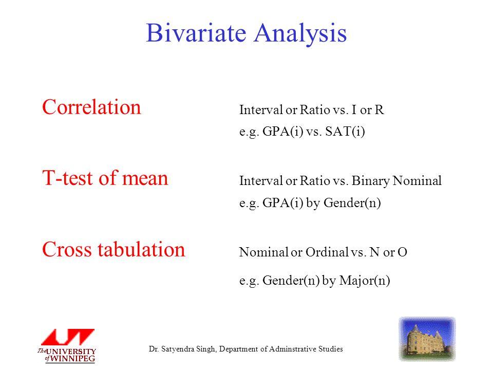 Dr. Satyendra Singh, Department of Adminstrative Studies Bivariate Analysis Correlation Interval or Ratio vs. I or R e.g. GPA(i) vs. SAT(i) T-test of