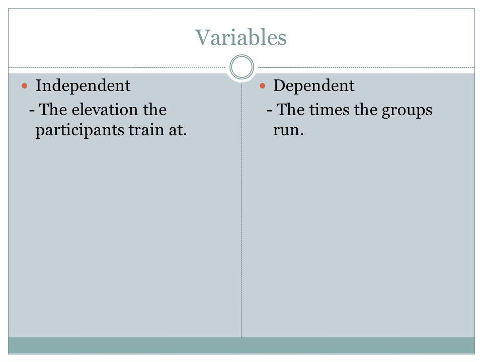 Variables Independent - The elevation the participants train at.