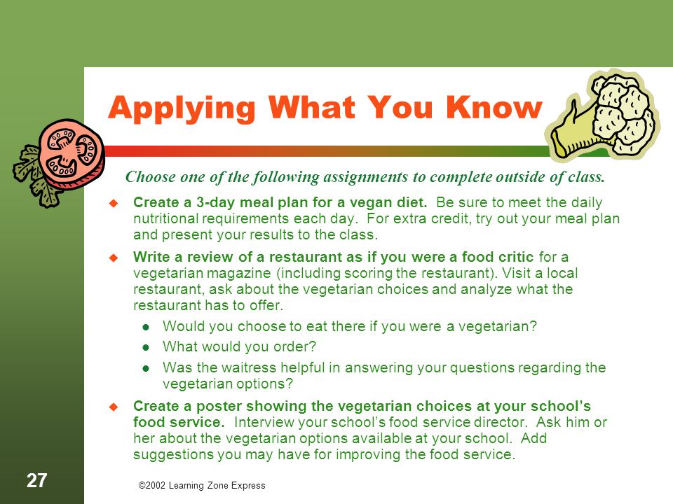 ©2002 Learning Zone Express 27 Applying What You Know Create a 3-day meal plan for a vegan diet. Be sure to meet the daily nutritional requirements ea