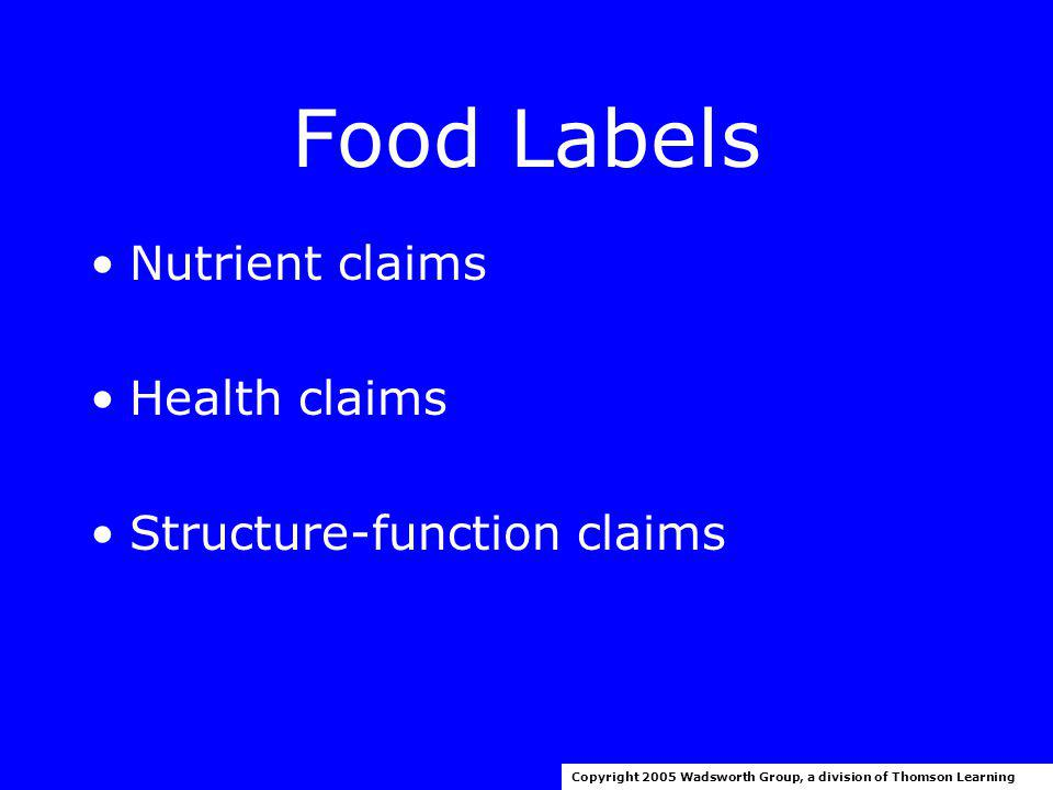 Food Labels Copyright 2005 Wadsworth Group, a division of Thomson Learning