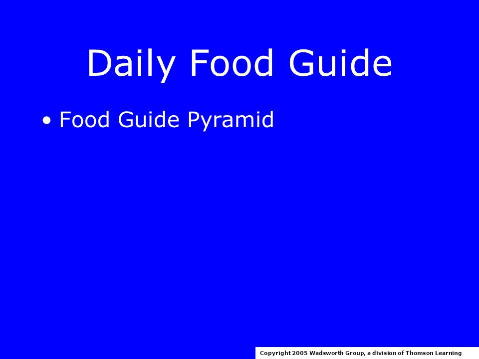 Dietary Guidelines Copyright 2005 Wadsworth Group, a division of Thomson Learning