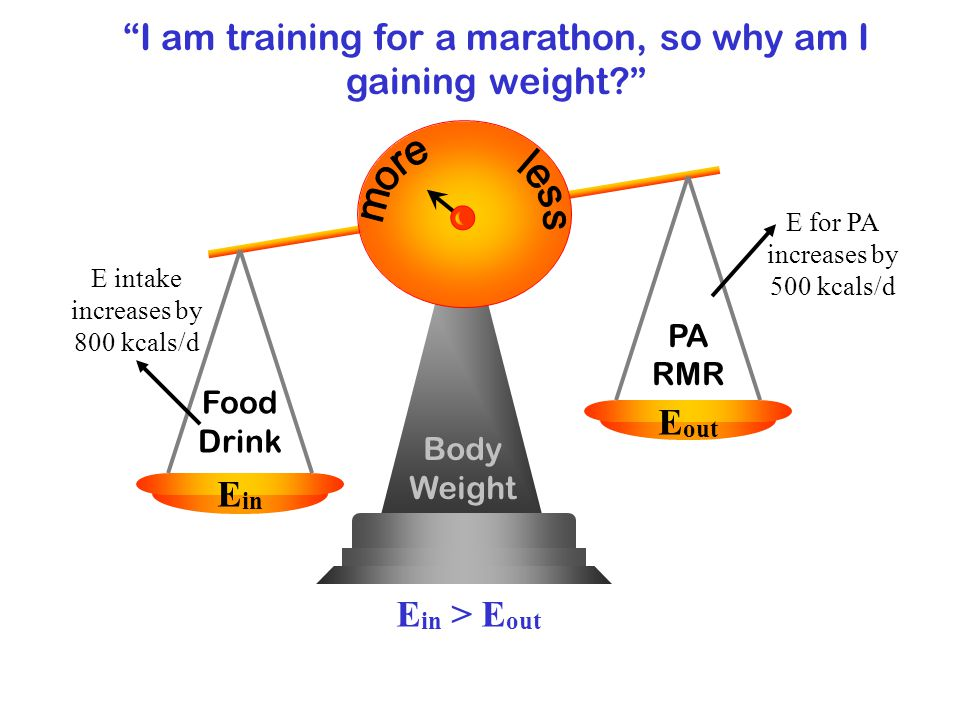 Body Weight Food Drink E in E out PA RMR E in > E out I am training for a marathon, so why am I gaining weight.