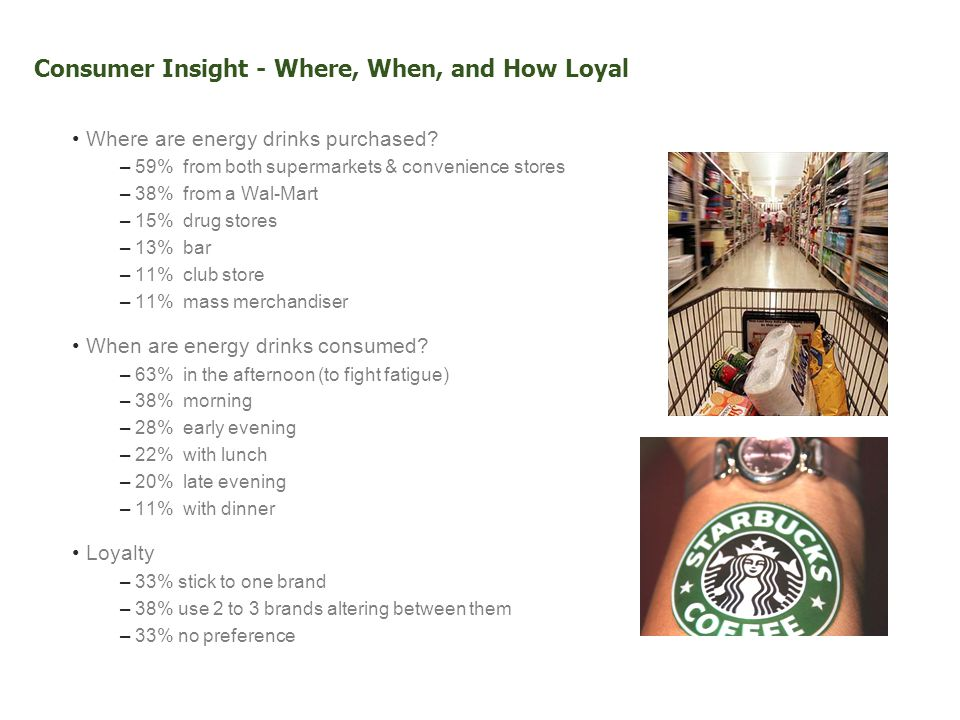Consumer Insight - Where, When, and How Loyal Where are energy drinks purchased.