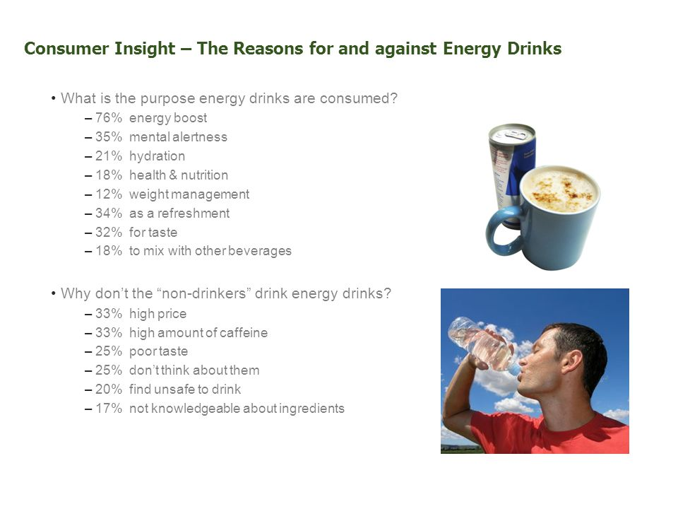 Consumer Insight – The Reasons for and against Energy Drinks What is the purpose energy drinks are consumed.