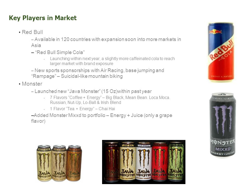 Key Players in Market Red Bull – Available in 120 countries with expansion soon into more markets in Asia – Red Bull Simple Cola Launching within next year, a slightly more caffeinated cola to reach larger market with brand exposure – New sports sponsorships with Air Racing, base jumping and Rampage – Suicidal-like mountain biking Monster – Launched new Java Monster (15 Oz)within past year 7 Flavors Coffee + Energy – Big Black, Mean Bean.