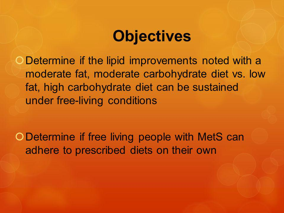 Conclusions First study looking at lipid outcomes in MetS patients at weight stability, under truly free-living conditions Significantly lower drop out rate compared to prior studies Able to sustain the benefits noted during controlled feeding phase, even under free-living conditions No significant difference between the two diets in lipid outcomes likely related to not achieving carbohydrate and fat goals in 2 diets