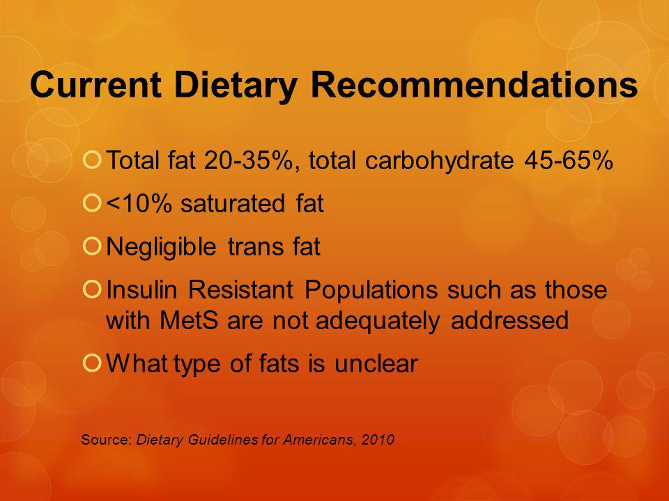 Current Dietary Recommendations Total fat 20-35%, total carbohydrate 45-65% <10% saturated fat Negligible trans fat Insulin Resistant Populations such as those with MetS are not adequately addressed What type of fats is unclear Source: Dietary Guidelines for Americans, 2010